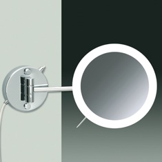 Wall Mounted One Face Chrome or Gold Finish Lighted 3x or 5x Magnifying Mirror