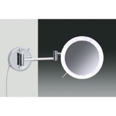 Wall Mounted Hardwired Chrome or Gold Finish 3x or 5x Lighted Magnifying Mirror