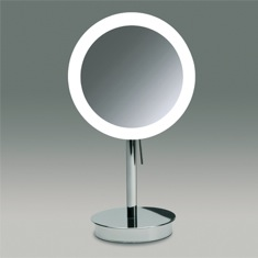 Round Pedestal Lighted 3x or 5x Chrome or Gold Finish Magnifying Mirror