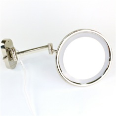 Wall Mounted Lighted Hardwired 3x or 5x Brass Magnifying Mirror
