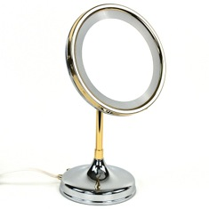 Pedestal Round 3x or 5x Brass Magnifying Mirror