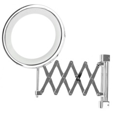 Wall Mounted Extendable Lighted 3x or 5x Brass Magnifying Mirror