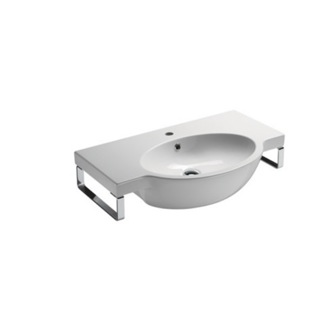 Bathroom Sink Wall Mounted White Ceramic Sink With Included Towel Bar GSI 662211-TB