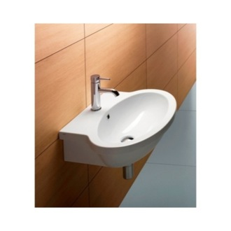 Bathroom Sink Oval-Shaped White Ceramic Wall Mounted Bathroom Sink 663811 GSI 663811