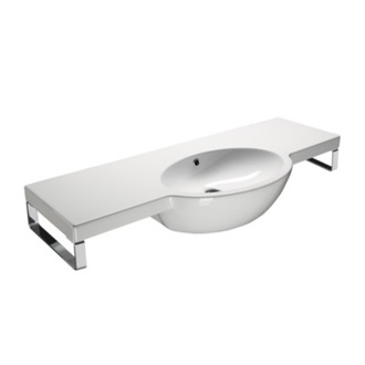 Bathroom Sink Curved White Ceramic Wall Mounted Bathroom Sink 665211 GSI 665211