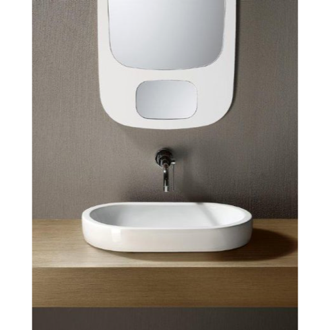 Bathroom Sink Oval-Shaped White Ceramic Vessel Bathroom Sink 668611 GSI 668611