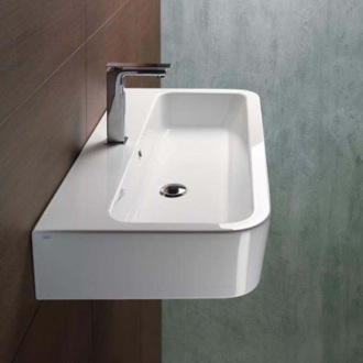 Curved Rectangular White Ceramic Wall Mounted or Vessel Bathroom Sink GSI 694011