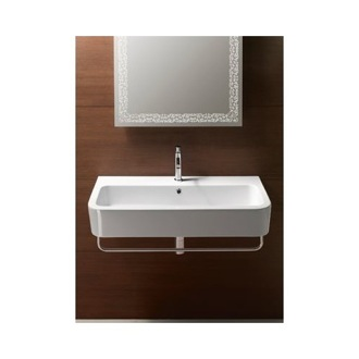 Curved Rectangular White Ceramic Wall Mounted or Vessel Bathroom Sink GSI 694411
