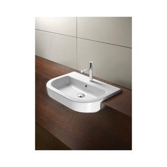 Bathroom Sink Curved White Ceramic Semi Recessed Bathroom Sink Gsi 694511