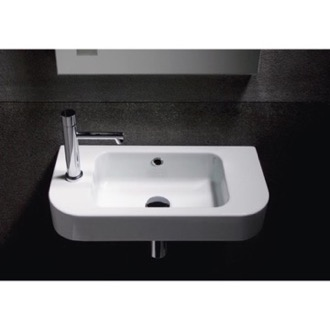 Bathroom Sink Curved White Ceramic Wall Mounted Bathroom Sink 694711 GSI 694711