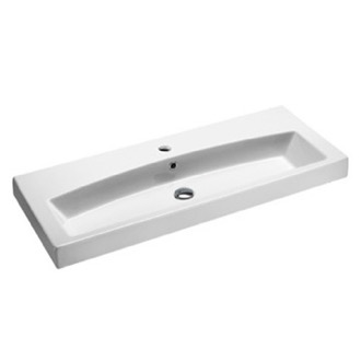Bathroom Sink Rectangular White Ceramic Wall Mounted or Self Rimming Bathroom Sink GSI 752311