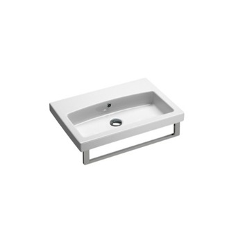Bathroom Sink Wall Mounted White Ceramic Sink With Included Towel Bar GSI 758211-TB