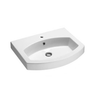 Curved White Ceramic Wall Mounted or Drop In Bathroom Sink GSI 758311