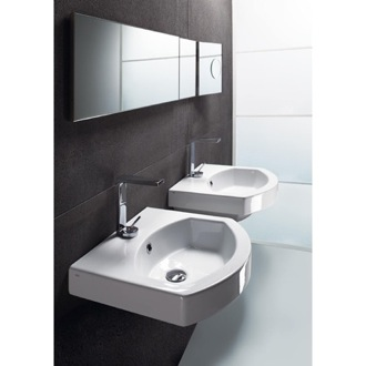 Bathroom Sink Curved White Ceramic Wall Mounted or Self Rimming Bathroom Sink GSI 758611