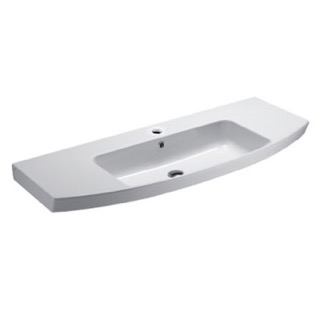 Curved White Ceramic Wall Mounted Bathroom Sink GSI 772411