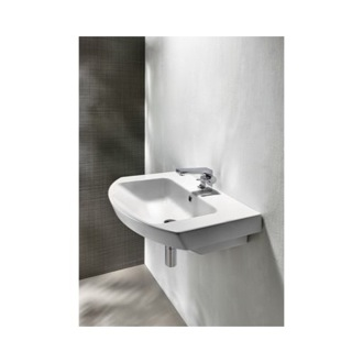 Bathroom Sink Curved White Ceramic Wall Mounted or Vessel Bathroom Sink 773211 GSI 773211