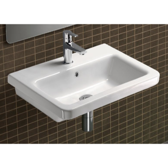 Bathroom Sink Rectangular White Ceramic Wall Mounted or Self Rimming Bathroom Sink MCITY8211 GSI MCITY8211