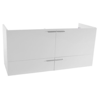 Vanity Cabinet 47 Inch Wall Mount Glossy White Double Bathroom Vanity Cabinet ACF L411W
