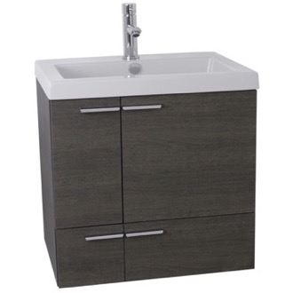 Bathroom Vanity 23 Inch Grey Oak Bathroom Vanity with Fitted Ceramic Sink, Wall Mounted ANS338 ACF ANS338