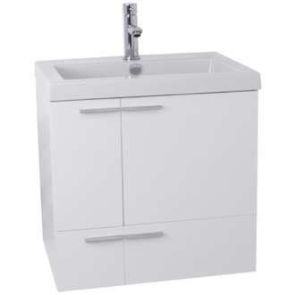 Bathroom Vanity 23 Inch Glossy White Bathroom Vanity with Fitted Ceramic Sink, Wall Mounted ACF ANS336