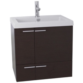 Bathroom Vanity 23 Inch Wenge Bathroom Vanity with Fitted Ceramic Sink, Wall Mounted ACF ANS337