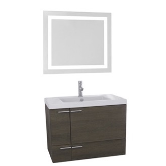 ACF ANS537 31 Inch Grey Oak Bathroom Vanity with Fitted Ceramic Sink, Wall Mounted, Lighted Mirror Included