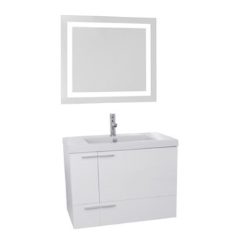 Bathroom Vanity 31 Inch Glossy White Bathroom Vanity with Fitted Ceramic Sink, Wall Mounted, Lighted Mirror Included ACF ANS525