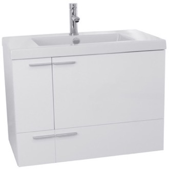 Bathroom Vanity 31 Inch Glossy White Bathroom Vanity with Fitted Ceramic Sink, Wall Mounted ANS344 ACF ANS344