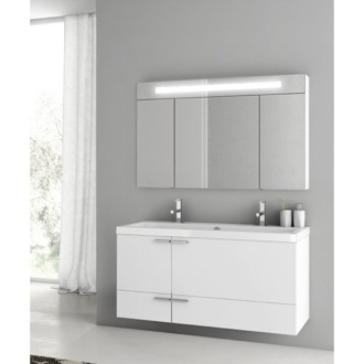 47 Inch Glossy White Bathroom Vanity Set ACF ANS334