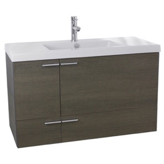 Bathroom Vanity 39 Inch Grey Oak Bathroom Vanity with Fitted Ceramic Sink, Wall Mounted ANS358 ACF ANS358