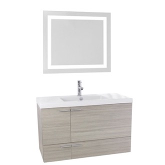 Bathroom Vanity 39 Inch Larch Canapa Bathroom Vanity with Fitted Ceramic Sink, Wall Mounted, Lighted Mirror Included ACF ANS606