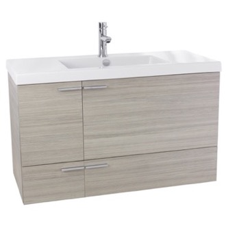 Bathroom Vanity 39 Inch Larch Canapa Bathroom Vanity with Fitted Ceramic Sink, Wall Mounted ANS359 ACF ANS359