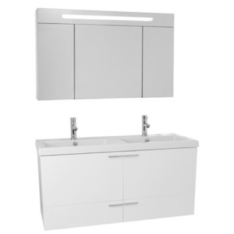 Bathroom Vanity 47 Inch Glossy White Bathroom Vanity Set, Double Sink, Lighted Medicine Cabinet Included ACF ANS1371