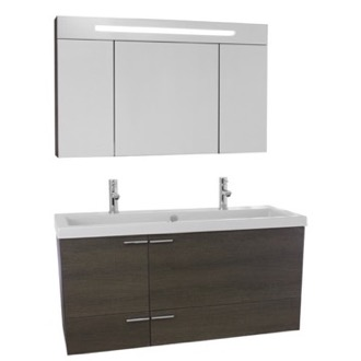 Bathroom Vanity 47 Inch Grey Oak Bathroom Vanity Set, Double Sink, Lighted Medicine Cabinet Included ACF ANS1380