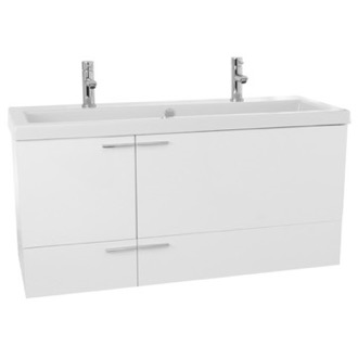 Bathroom Vanity 47 Inch Glossy White Bathroom Vanity Set, Double Sink ACF ANS1104