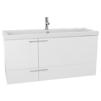Bathroom Vanity 47 Inch Glossy White Bathroom Vanity Set, Double Sink ACF ANS368