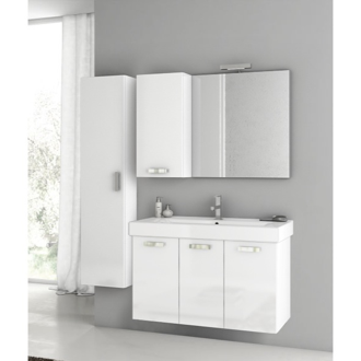 39 Inch Glossy White Bathroom Vanity Set ACF C130
