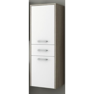Glossy White and Larch Canapa Tall Storage Cabinet ACF C133WL