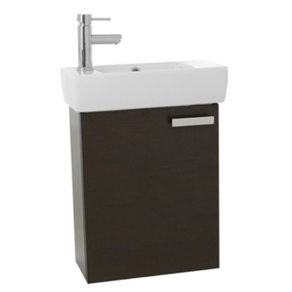 Bathroom Vanity 19 Inch Wenge Wall Mount Bathroom Vanity with Fitted Ceramic Sink ACF C134