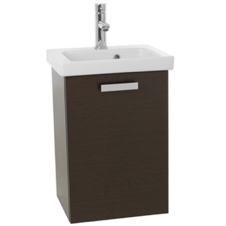 Bathroom Vanity 17 Inch Small Wenge Wall Mounted Bathroom Vanity with Fitted Sink ACF C506
