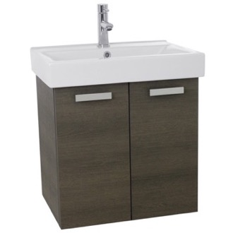 ACF C143 24 Inch Grey Oak Wall Mount Bathroom Vanity with Fitted Ceramic Sink