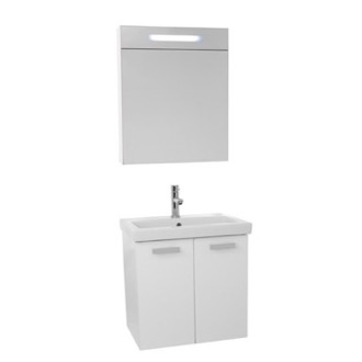 Bathroom Vanity 24 Inch Glossy White Wall Mount Bathroom Vanity with Fitted Ceramic Sink, Lighted Medicine Cabinet Included ACF C871