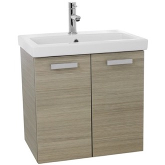 Bathroom Vanity 24 Inch Larch Canapa Wall Mount Bathroom Vanity with Fitted Ceramic Sink ACF C512