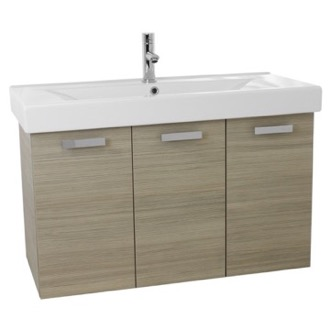 Bathroom Vanity 39 Inch Larch Canapa Wall Mount Bathroom Vanity with Fitted Ceramic Sink C152 ACF C152
