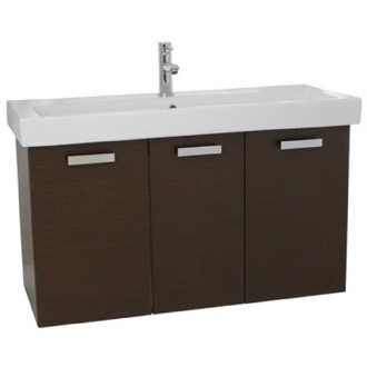 Bathroom Vanity 39 Inch Wenge Wall Mount Bathroom Vanity with Fitted Ceramic Sink ACF C518