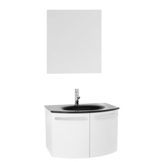 Bathroom Vanity 28 Inch Glossy White Bathroom Vanity with Black Glass Top, Mirror Included CD42 ACF CD42