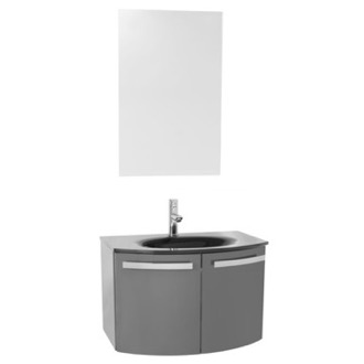 Bathroom Vanity 28 Inch Glossy Anthracite Bathroom Vanity with Black Glass Top, Mirror Included CD55 ACF CD55