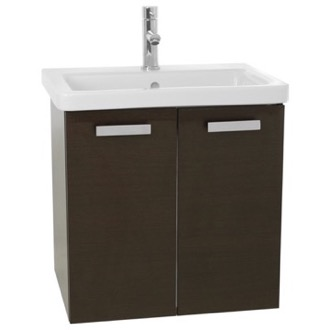 Bathroom Vanity 24 Inch Wenge Wall Mount Vanity with Fitted Ceramic Sink ACF CP97