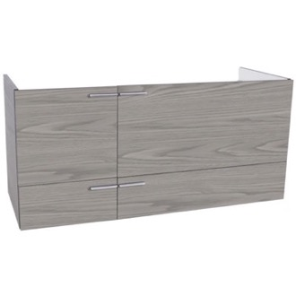 47 Inch Wall Mount Grey Walnut Double Bathroom Vanity Cabinet ACF L412WG