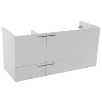 47 Inch Wall Mount Glossy White Double Bathroom Vanity Cabinet ACF L412W